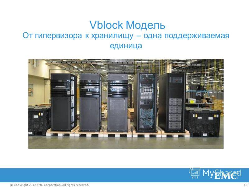 43© Copyright 2012 EMC Corporation. All rights reserved. Vblock Модель От гипервизора к хранилищу – одна поддерживаемая единица