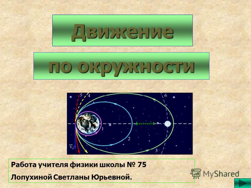 Движение по окружности Работа учителя физики школы 75 Лопухиной Светланы Юрьевной.