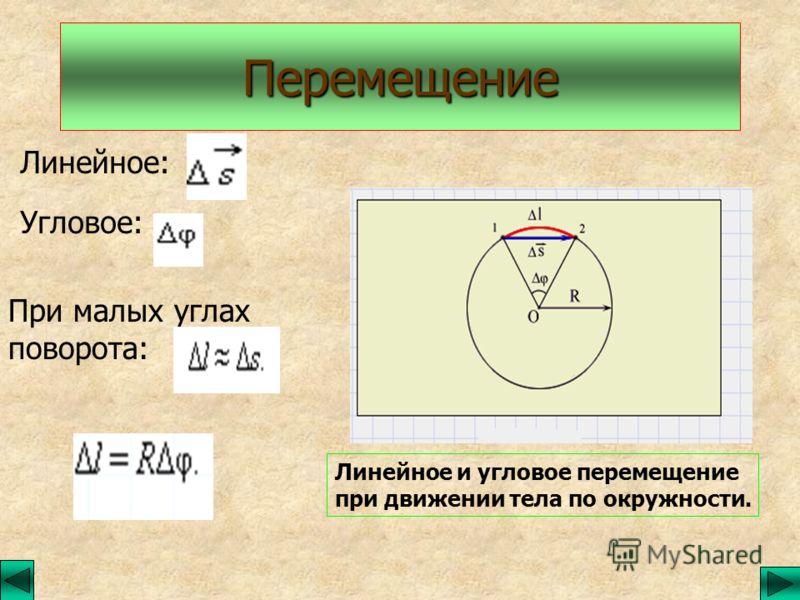 Перемещение Линейное: Угловое: При малых углах поворота: Линейное и угловое перемещение при движении тела по окружности.