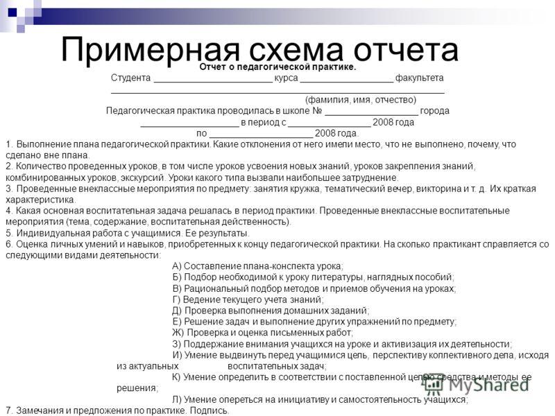 Примерная схема отчета Отчет о