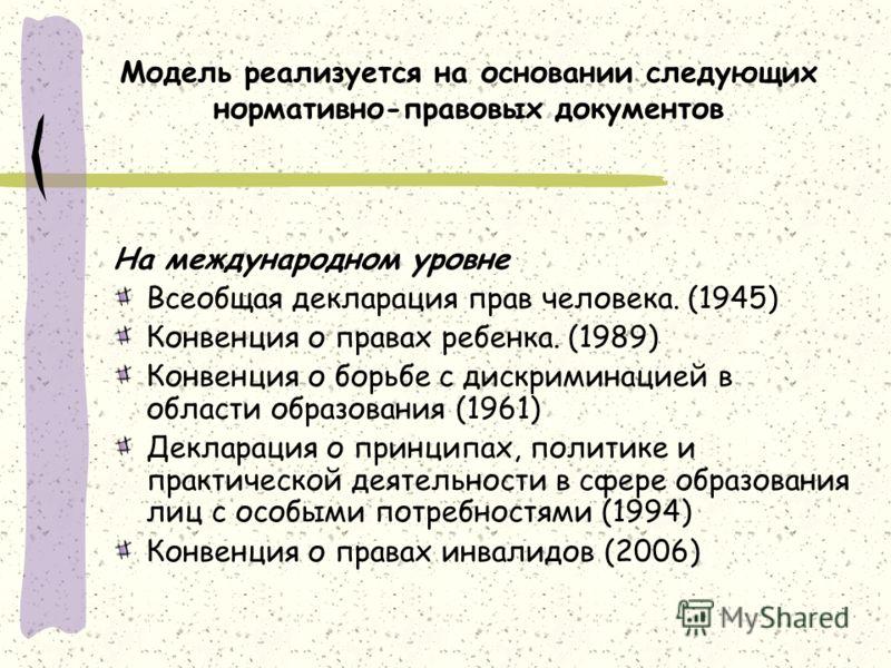 Модель реализуется на основании следующих нормативно-правовых документов На международном уровне Всеобщая декларация прав человека. (1945) Конвенция о правах ребенка. (1989) Конвенция о борьбе с дискриминацией в области образования (1961) Декларация