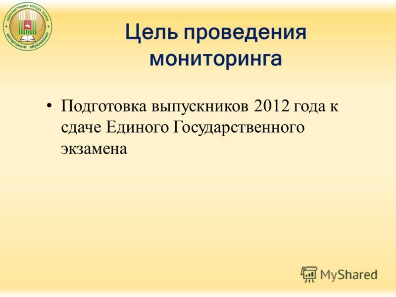 Цель проведения мониторинга Подготовка выпускников 2012 года к сдаче Единого Государственного экзамена