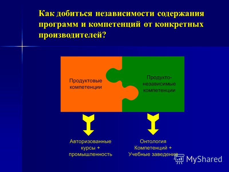 Как добиться независимости содержания программ и компетенций от конкретных производителей?