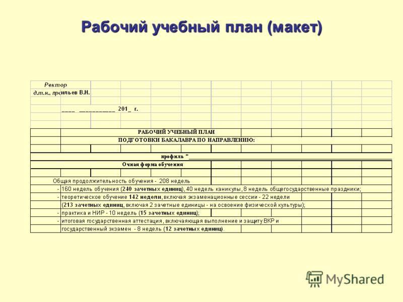 Рабочий учебный план (макет)