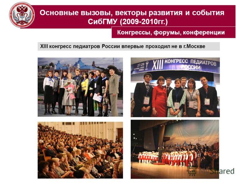 Основные вызовы, векторы развития и события СибГМУ (2009-2010гг.) XIII конгресс педиатров России впервые проходил не в г.Москве Конгрессы, форумы, конференции