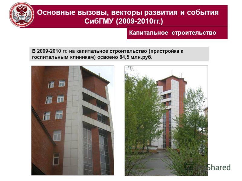 Основные вызовы, векторы развития и события СибГМУ (2009-2010гг.) В 2009-2010 гг. на капитальное строительство (пристройка к госпитальным клиникам) освоено 84,5 млн.руб. Капитальное строительство