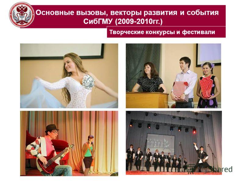 Основные вызовы, векторы развития и события СибГМУ (2009-2010гг.) Творческие конкурсы и фестивали