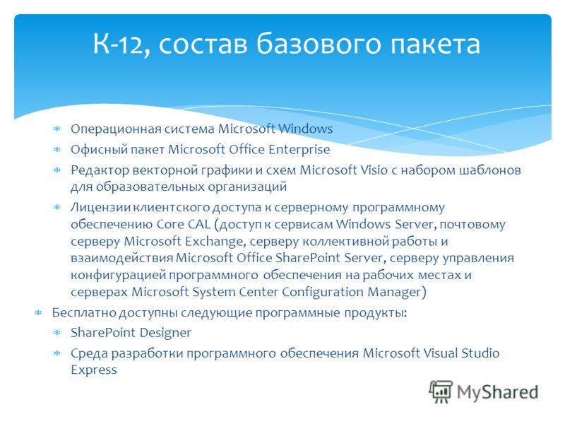 Операционная система Microsoft Windows Офисный пакет Microsoft Office Enterprise Редактор векторной графики и схем Microsoft Visio с набором шаблонов для образовательных организаций Лицензии клиентского доступа к серверному программному обеспечению C