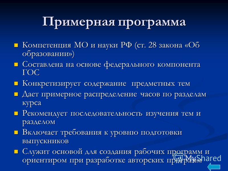 Примерная программа Компетенция МО и науки РФ (ст. 28 закона «Об образовании») Компетенция МО и науки РФ (ст. 28 закона «Об образовании») Составлена на основе федерального компонента ГОС Составлена на основе федерального компонента ГОС Конкретизирует