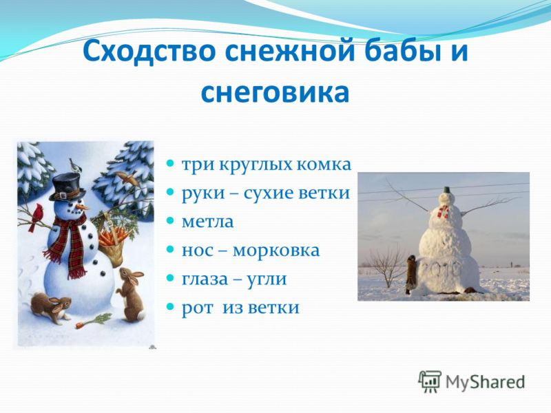 Сходство снежной бабы и снеговика три круглых комка руки – сухие ветки метла нос – морковка глаза – угли рот из ветки