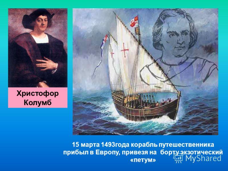 15 марта 1493года корабль путешественника прибыл в Европу, привезя на борту экзотический «петум» Христофор Колумб