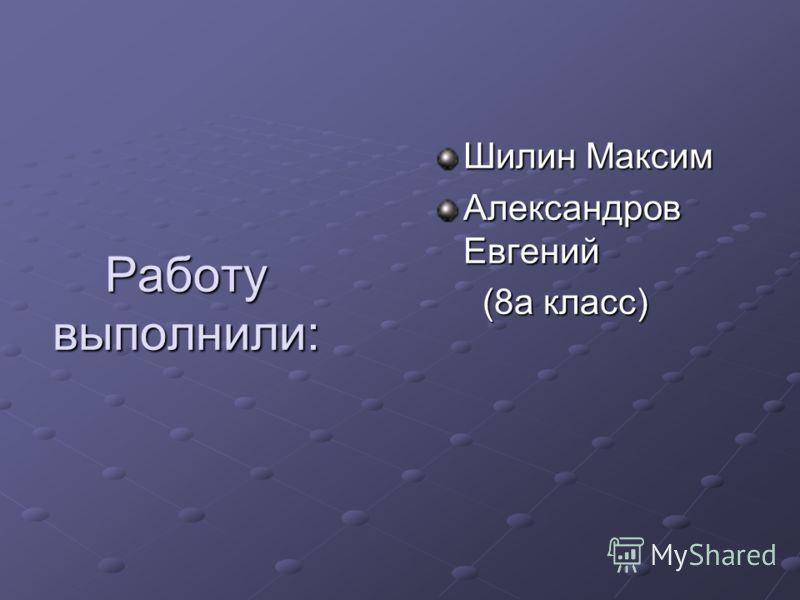 Работу выполнили: Шилин Максим Александров Евгений (8а класс) (8а класс)