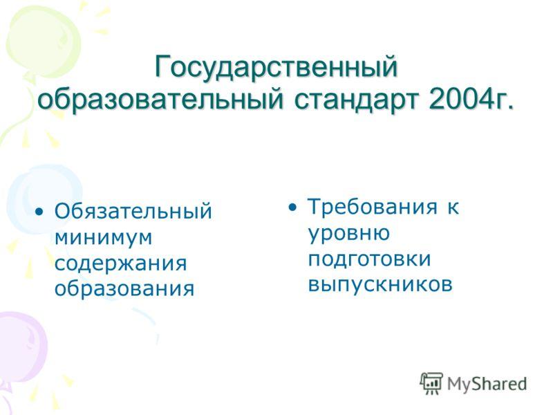 Государственный образовательный стандарт 2004г. Обязательный минимум содержания образования Требования к уровню подготовки выпускников