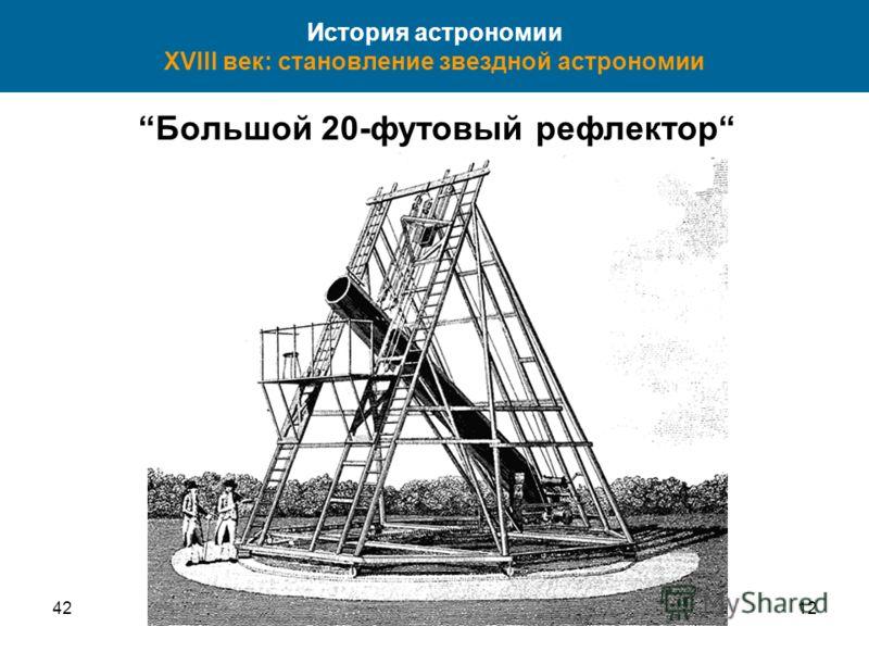 4212 История астрономии XVIII век: становление звездной астрономии Большой 20-футовый рефлектор