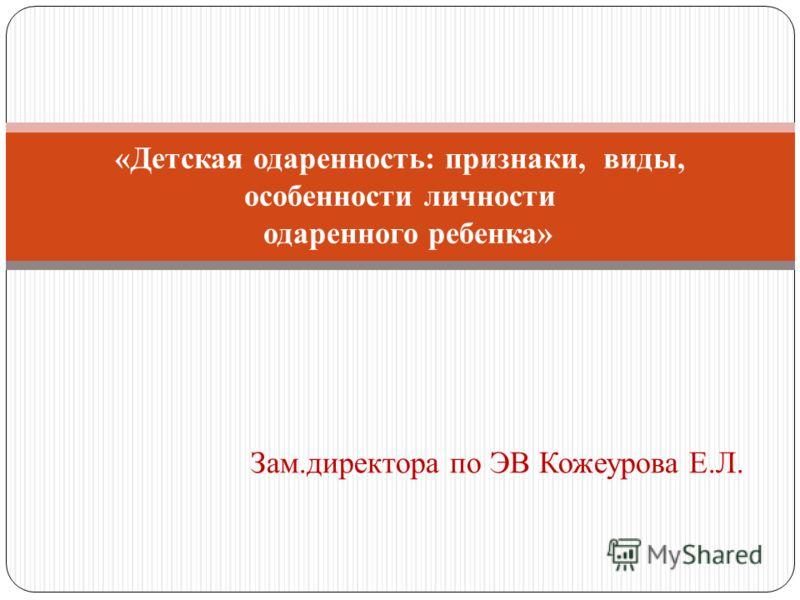 Зам.директора по ЭВ Кожеурова Е.Л. «Детская одаренность: признаки, виды, особенности личности одаренного ребенка»