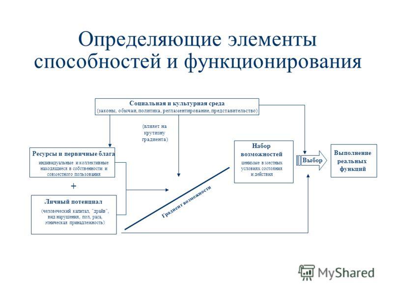 Определяющие элементы способностей и функционирования Ресурсы и первичные блага индивидуальные и коллективные находящиеся в собственности и совместного пользования Личный потенциал (человеческий капитал,