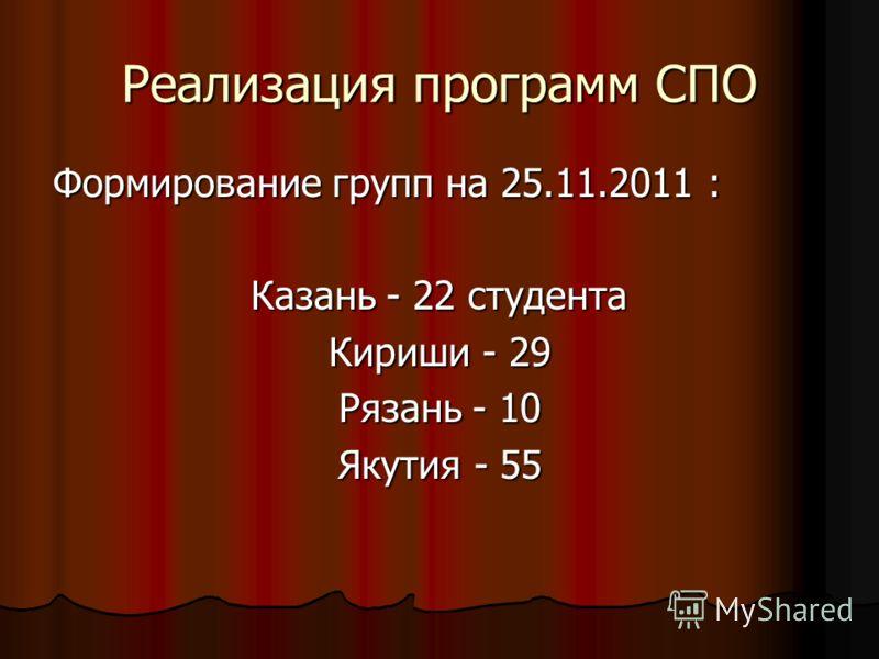 Реализация программ СПО Формирование групп на 25.11.2011 : Казань - 22 студента Кириши - 29 Рязань - 10 Якутия - 55