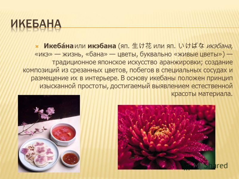 Икебана или икэбана (яп. или яп. икэбана, «икэ» жизнь, «бана» цветы, буквально «живые цветы») традиционное японское искусство аранжировки; создание композиций из срезанных цветов, побегов в специальных сосудах и размещение их в интерьере. В основу ик