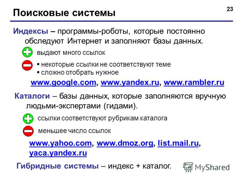 23 Поисковые системы Индексы – программы-роботы, которые постоянно обследуют Интернет и заполняют базы данных. Каталоги – базы данных, которые заполняются вручную людьми-экспертами (гидами). выдают много ссылок некоторые ссылки не соответствуют теме
