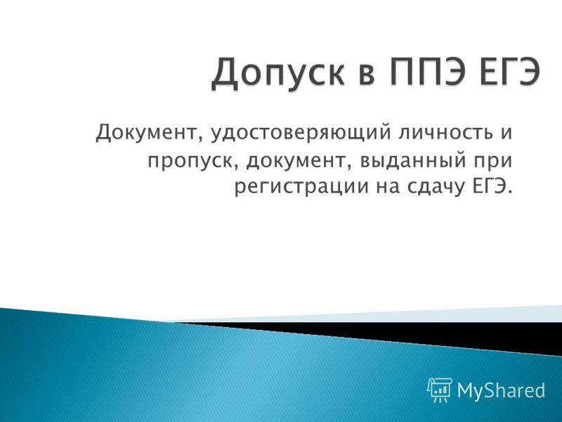 Документ, удостоверяющий личность и пропуск, документ, выданный при регистрации на сдачу ЕГЭ.
