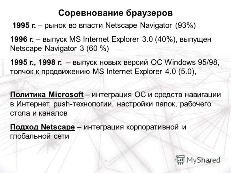 26 1995 г. 1995 г. – рынок во власти Netscape Navigator (93%) 1996 г. – выпуск MS Internet Explorer 3.0 (40%), выпущен Netscape Navigator 3 (60 %) 1995 г., 1998 г. – выпуск новых версий OC Windows 95/98, толчок к продвижению MS Internet Explorer 4.0