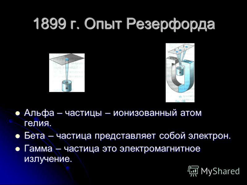 1899 г. Опыт Резерфорда Альфа – частицы – ионизованный атом гелия. Альфа – частицы – ионизованный атом гелия. Бета – частица представляет собой электрон. Бета – частица представляет собой электрон. Гамма – частица это электромагнитное излучение. Гамм