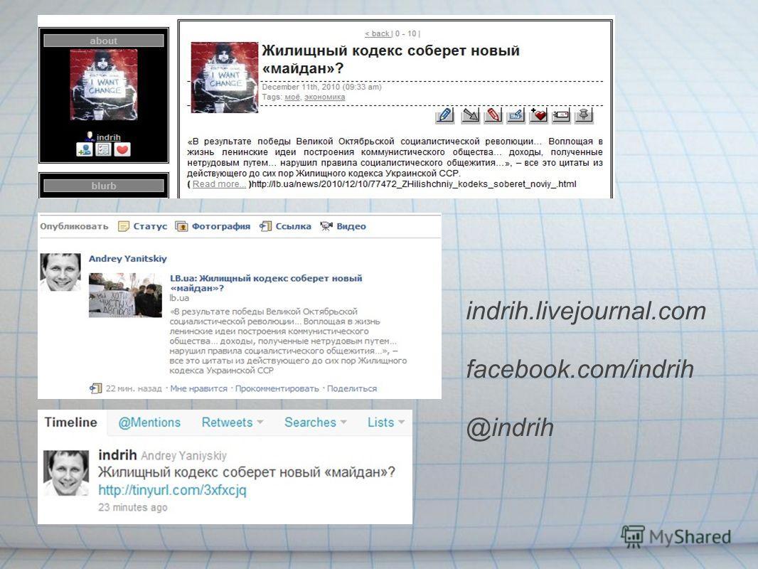 indrih.livejournal.com facebook.com/indrih @indrih