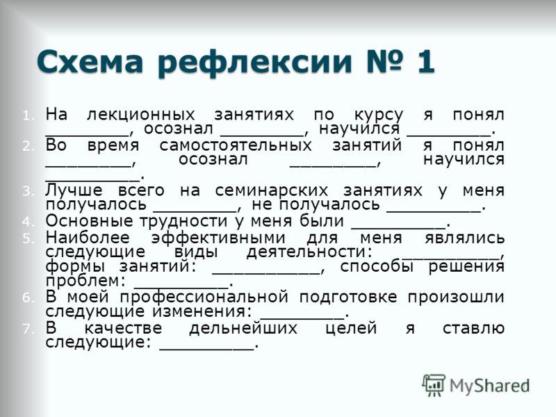 Схема рефлексии 1 1. На лекционных занятиях по курсу я понял ________, осознал ________, научился ________. 2. Во время самостоятельных занятий я понял ________, осознал ________, научился _________. 3. Лучше всего на семинарских занятиях у меня полу