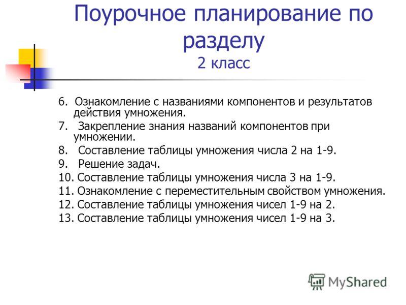 Поурочное планирование по разделу 2 класс 6. Ознакомление с названиями компонентов и результатов действия умножения. 7. Закрепление знания названий компонентов при умножении. 8. Составление таблицы умножения числа 2 на 1-9. 9. Решение задач. 10. Сост
