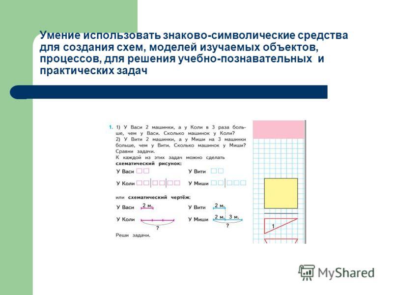 Умение использовать знаково-символические средства для создания схем, моделей изучаемых объектов, процессов, для решения учебно-познавательных и практических задач