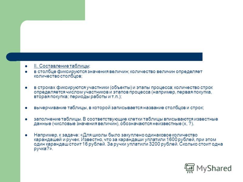 II. Составление таблицы: в столбце фиксируются значения величин; количество величин определяет количество столбцов; в строках фиксируются участники (объекты) и этапы процесса; количество строк определяется числом участников и этапов процесса (наприме