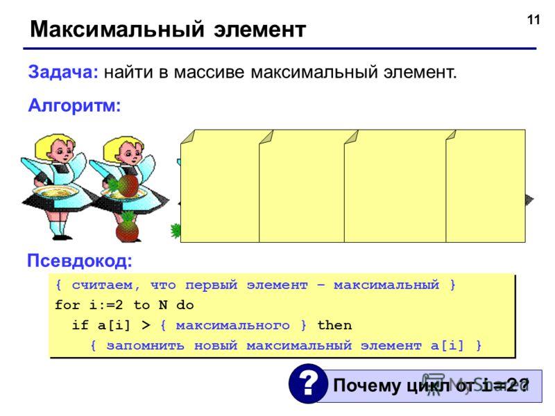 11 Максимальный элемент Задача: найти в массиве максимальный элемент. Алгоритм: Псевдокод: { считаем, что первый элемент – максимальный } for i:=2 to N do if a[i] > { максимального } then { запомнить новый максимальный элемент a[i] } { считаем, что п