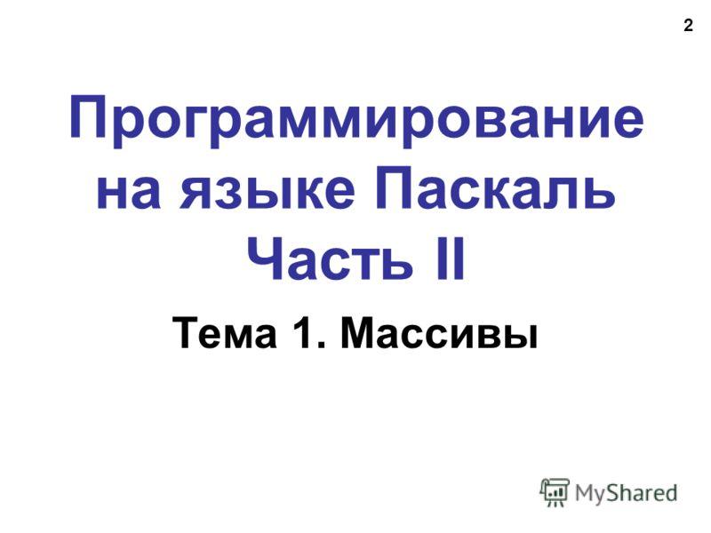 2 Программирование на языке Паскаль Часть II Тема 1. Массивы
