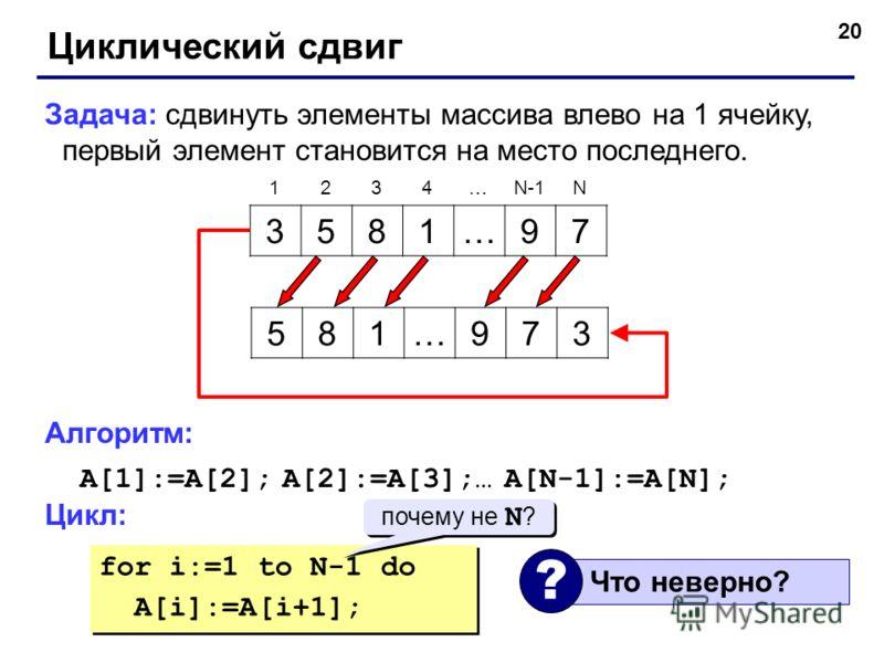 20 Циклический сдвиг Задача: сдвинуть элементы массива влево на 1 ячейку, первый элемент становится на место последнего. Алгоритм: A[1]:=A[2]; A[2]:=A[3];… A[N-1]:=A[N]; Цикл: 3581…97 1234…N-1N 581…973 for i:=1 to N-1 do A[i]:=A[i+1]; for i:=1 to N-1