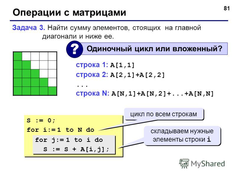 81 Операции с матрицами Задача 3. Найти сумму элементов, стоящих на главной диагонали и ниже ее. Одиночный цикл или вложенный? ? строка 1: A[1,1] строка 2: A[2,1]+A[2,2]... строка N: A[N,1]+A[N,2]+...+A[N,N] S := 0; for i:= 1 to N do S := 0; for i:=