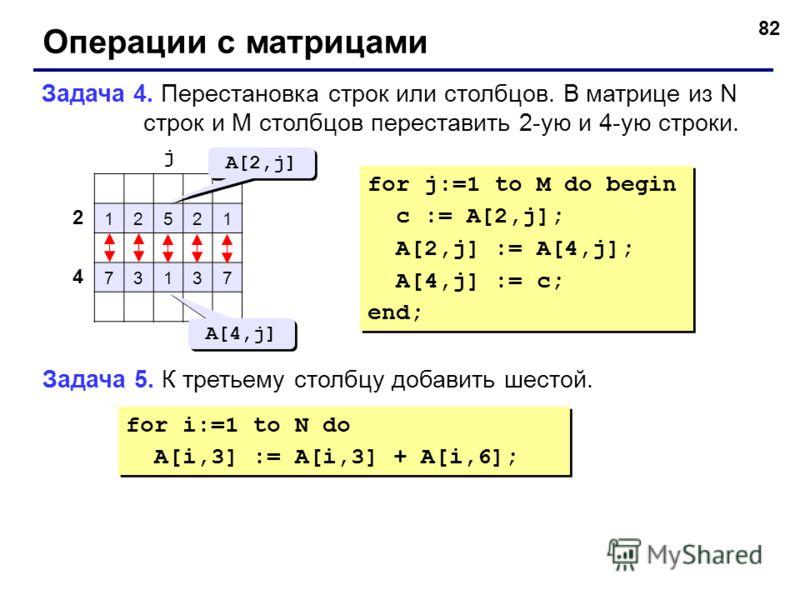 82 Операции с матрицами Задача 4. Перестановка строк или столбцов. В матрице из N строк и M столбцов переставить 2-ую и 4-ую строки. 12521 73137 2 4 j A[2,j] A[4,j] for j:=1 to M do begin c := A[2,j]; A[2,j] := A[4,j]; A[4,j] := c; end; for j:=1 to M