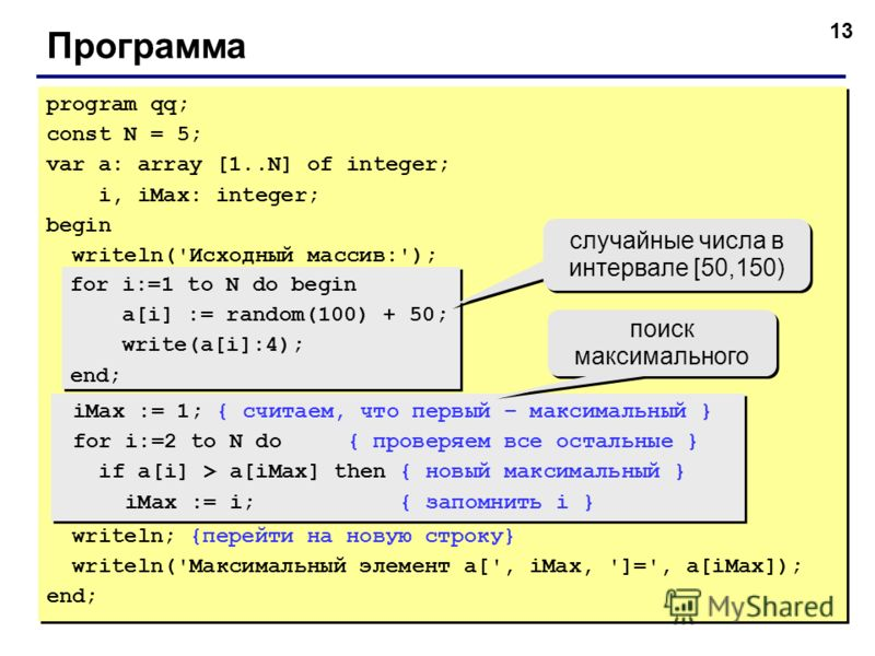 13 Программа program qq; const N = 5; var a: array [1..N] of integer; i, iMax: integer; begin writeln('Исходный массив:'); for i:=1 to N do begin a[i] := random(100) + 50; write(a[i]:4); end; iMax := 1; { считаем, что первый – максимальный } for i:=2