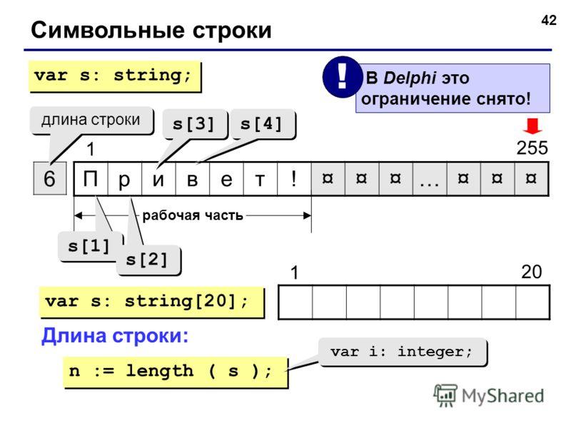 42 Символьные строки Привет!¤¤¤…¤¤¤ 6 1 255 длина строки рабочая часть s[1] s[2] s[3] s[4] var s: string; var s: string[20]; 20 1 Длина строки: n := length ( s ); var i: integer; В Delphi это ограничение снято! !