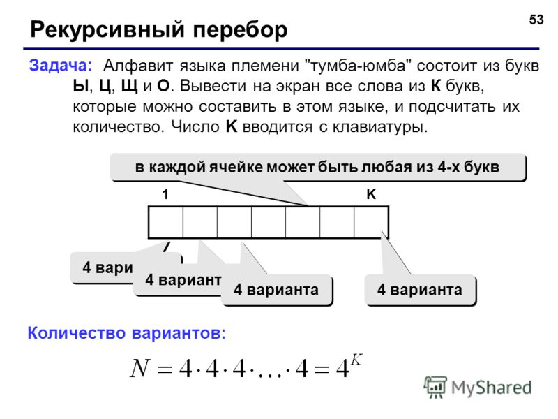 53 Рекурсивный перебор Задача: Алфавит языка племени