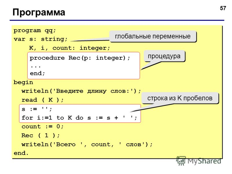 57 Программа program qq; var s: string; K, i, count: integer; begin writeln('Введите длину слов:'); read ( K ); s := ''; for i:=1 to K do s := s + ' '; count := 0; Rec ( 1 ); writeln('Всего ', count, ' слов'); end. program qq; var s: string; K, i, co