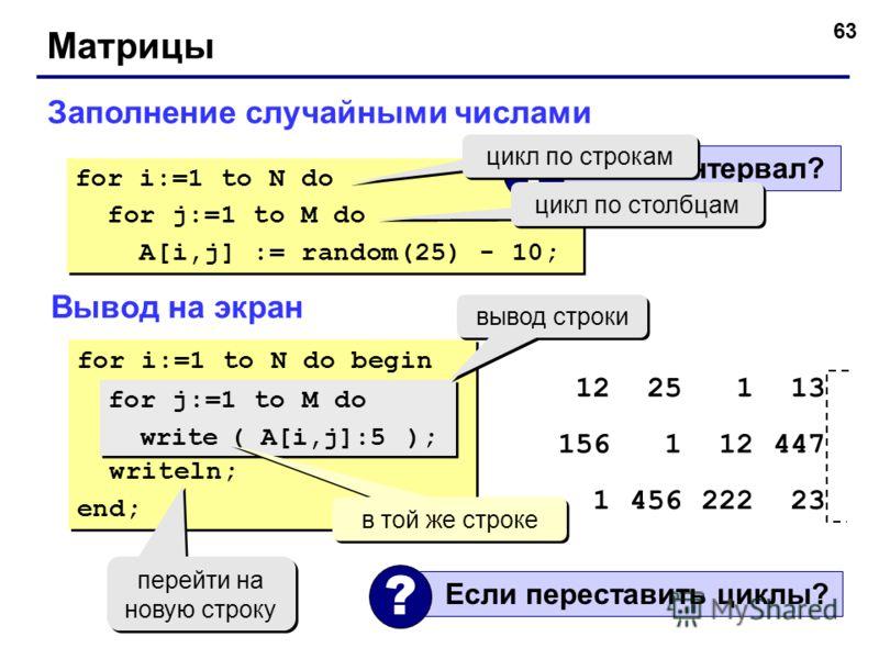 63 Матрицы Заполнение случайными числами for i:=1 to N do for j:=1 to M do A[i,j] := random(25) - 10; for i:=1 to N do for j:=1 to M do A[i,j] := random(25) - 10; Какой интервал? ? цикл по строкам цикл по столбцам Вывод на экран for i:=1 to N do begi