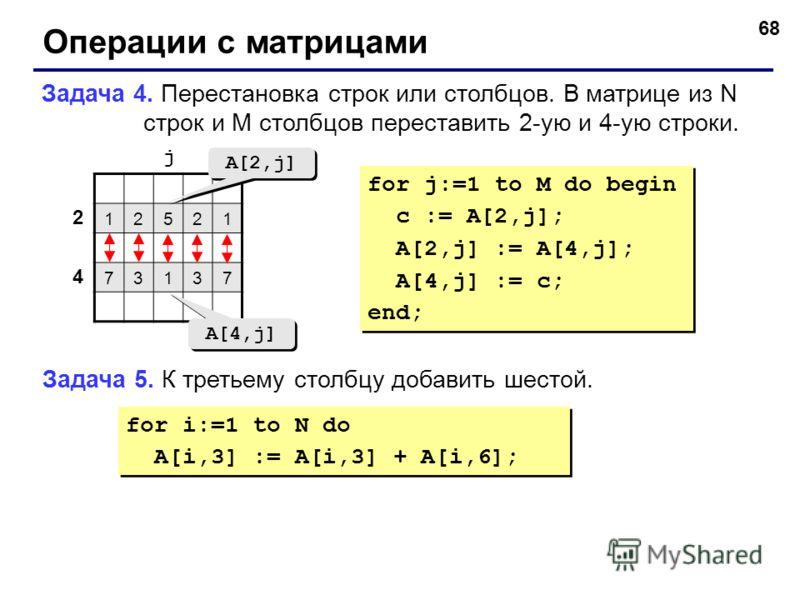 68 Операции с матрицами Задача 4. Перестановка строк или столбцов. В матрице из N строк и M столбцов переставить 2-ую и 4-ую строки. 12521 73137 2 4 j A[2,j] A[4,j] for j:=1 to M do begin c := A[2,j]; A[2,j] := A[4,j]; A[4,j] := c; end; for j:=1 to M