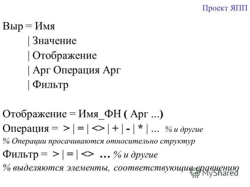 Проект ЯПП Выр = Имя | Значение | Отображение | Арг Операция Арг | Фильтр Отображение = Имя_ФН ( Арг...) Операция = > | = |  | + | - | * |... % и другие % Операции просачиваются относительно структур Фильтр = > | = |  … % и другие % выделяются элемен