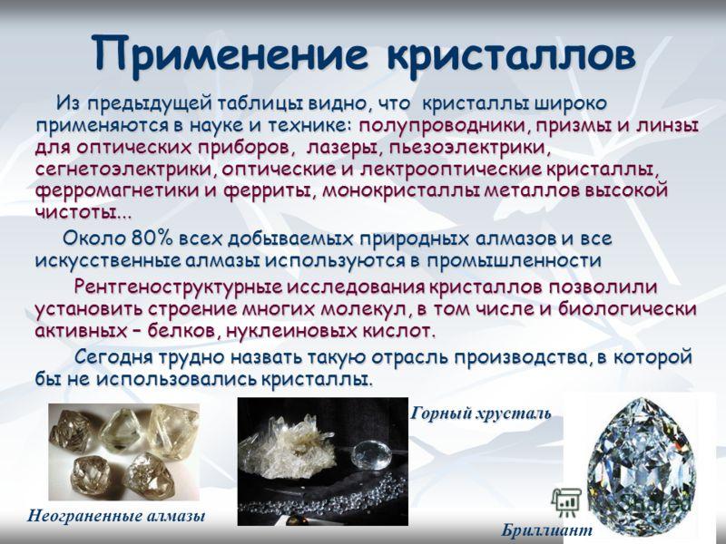 Применение кристаллов Из предыдущей таблицы видно, что кристаллы широко применяются в науке и технике: полупроводники, призмы и линзы для оптических приборов, лазеры, пьезоэлектрики, сегнетоэлектрики, оптические и лектрооптические кристаллы, ферромаг