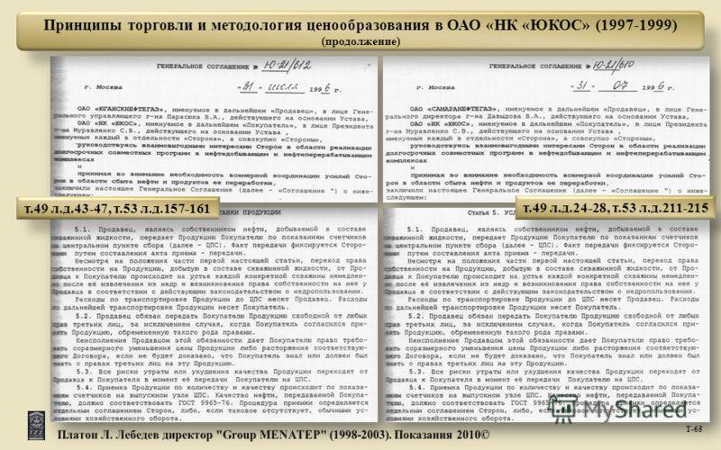 Т -65 Принципы торговли и методология ценообразования в ОАО «НК «ЮКОС» (1997-1999) (продолжение) т.49 л.д.43-47, т.53 л.д.157-161 т.49 л.д.24-28, т.53 л.д.211-215
