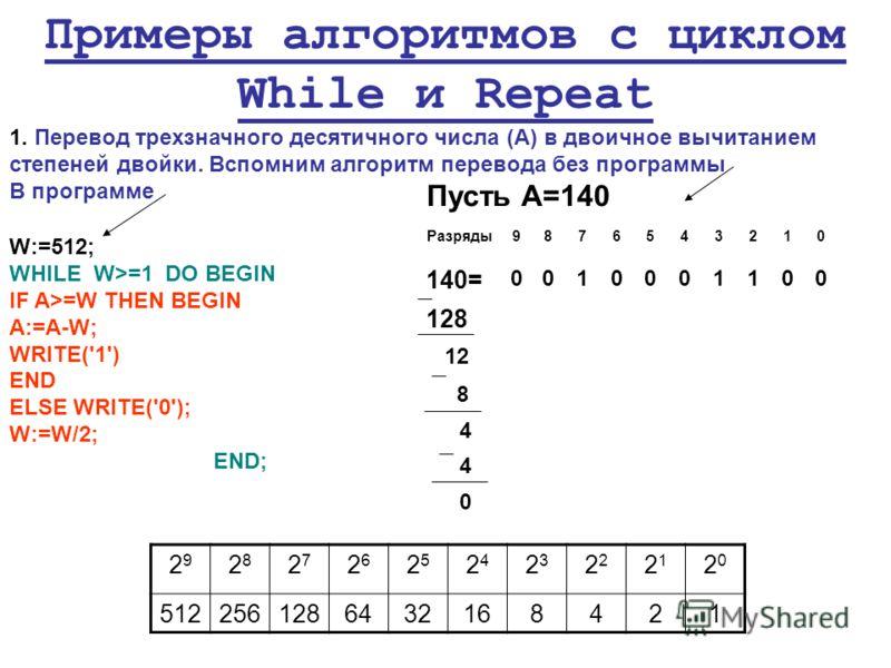 Разряды9876543210 140= 0010001100 128 12 8 4 4 0 Примеры алгоритмов с циклом While и Repeat 1. Перевод трехзначного десятичного числа (А) в двоичное вычитанием степеней двойки. Вспомним алгоритм перевода без программы В программе W:=512; WHILE W>=1 D