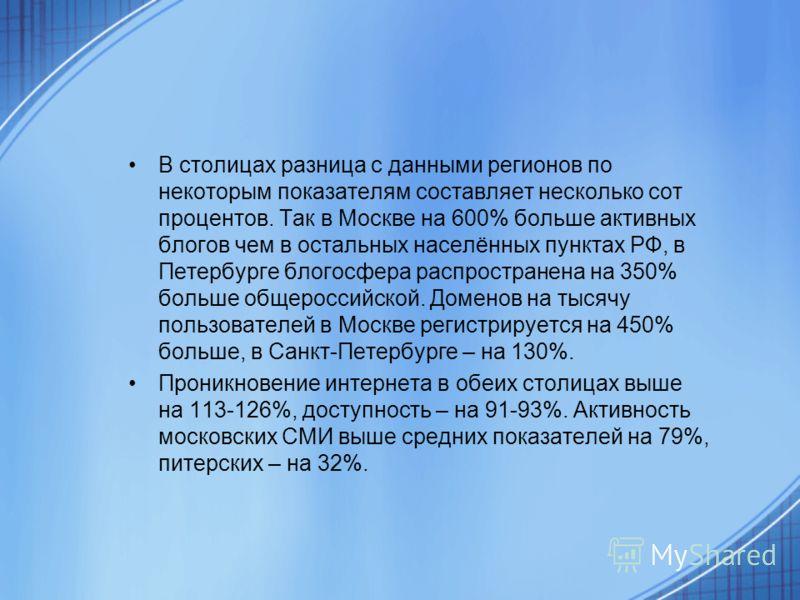 В столицах разница с данными регионов по некоторым показателям составляет несколько сот процентов. Так в Москве на 600% больше активных блогов чем в остальных населённых пунктах РФ, в Петербурге блогосфера распространена на 350% больше общероссийской