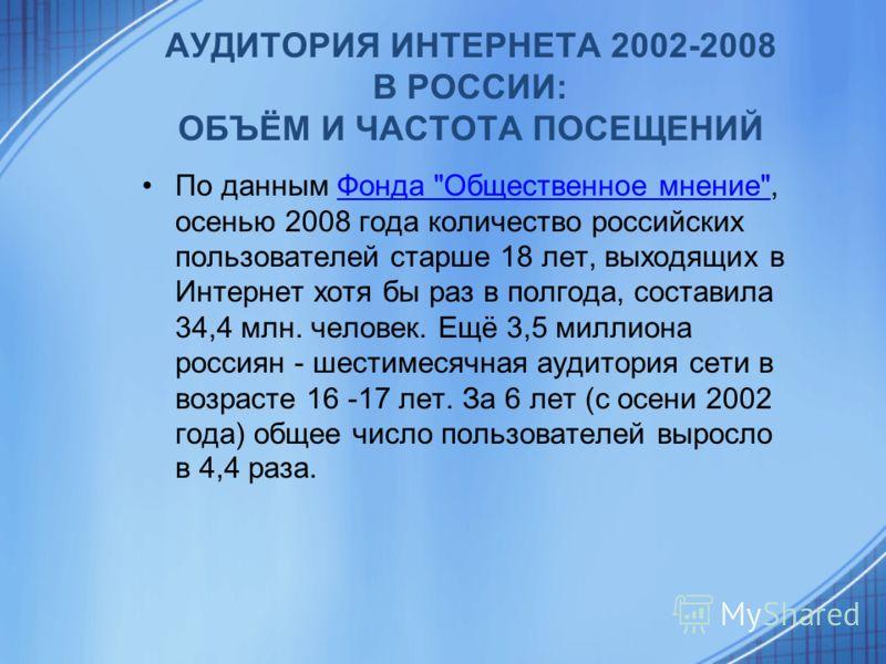 АУДИТОРИЯ ИНТЕРНЕТА 2002-2008 В РОССИИ: ОБЪЁМ И ЧАСТОТА ПОСЕЩЕНИЙ По данным Фонда
