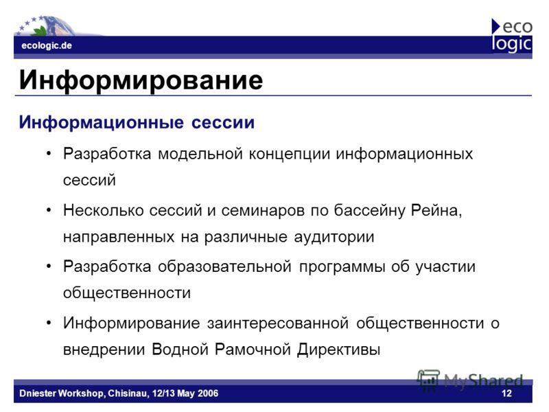 ecologic.de Datum ecologic.de Dniester Workshop, Chisinau, 12/13 May 200612 Информирование Информационные сессии Разработка модельной концепции информационных сессий Несколько сессий и семинаров по бассейну Рейна, направленных на различные аудитории