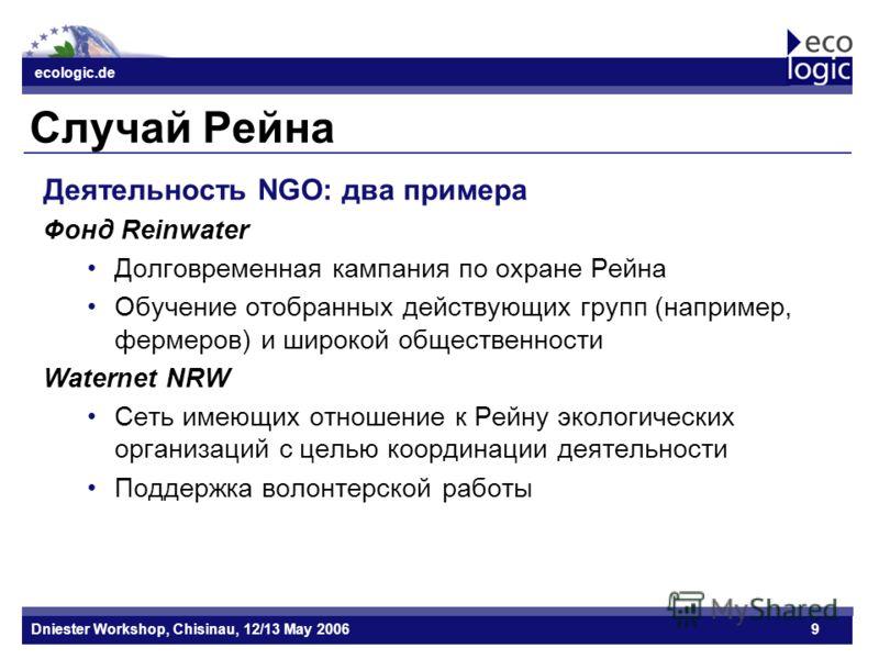 ecologic.de Datum ecologic.de Dniester Workshop, Chisinau, 12/13 May 20069 Случай Рейна Деятельность NGO: два примера Фонд Reinwater Долговременная кампания по охране Рейна Обучение отобранных действующих групп (например, фермеров) и широкой обществе